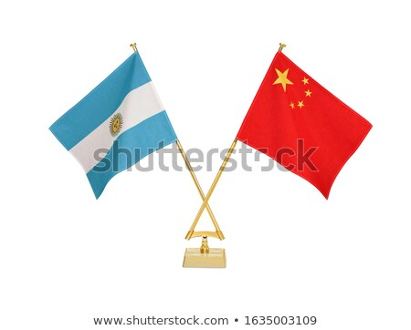 Kína Argentína miniatűr zászlók izolált fehér Stock fotó © tashatuvango