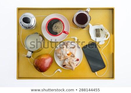 friss · alma · sütemények · kávé · reggeli · sajt - stock fotó © ozgur