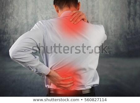 ストックフォト: 筋肉の · 男 · 痛み · 戻る · グレー · ヌード