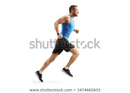 Athletic and muscular man is running Stock photo © stryjek