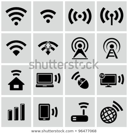 wi fi wireless network black icon Stock photo © blaskorizov