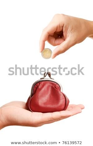 Kırmızı çanta cüzdan el sikke yalıtılmış Stok fotoğraf © tetkoren
