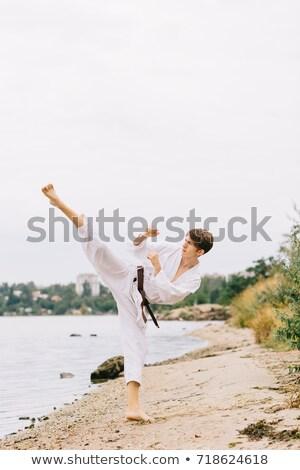 Fiatal srác gyakorol karate folyó illusztráció víz Stock fotó © bluering