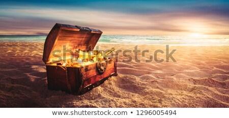 Plage illustration océan sable crâne Photo stock © adrenalina