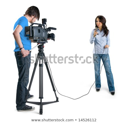 journalist girl and cameraman man with camcorder Stock photo © adrenalina