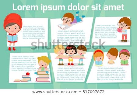 Książki szablon chłopca czytania ilustracja dziecko Zdjęcia stock © bluering