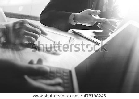 desktop · stazione · di · lavoro · bianco · nero · lavoro · business · libro - foto d'archivio © romvo