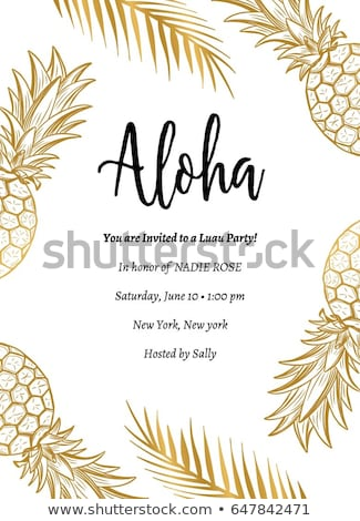 summer gold pineapple design for vacation season stock photo © cienpies