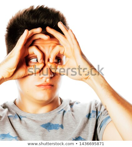 young pretty man isolated showing two ok signs smiling close up stock photo © iordani