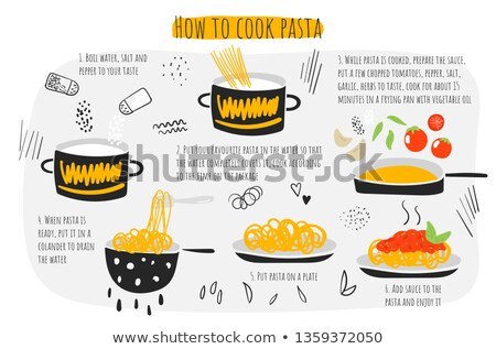 Pasta cooking instruction. Chef directions spaghetti. Step by st Stock photo © popaukropa