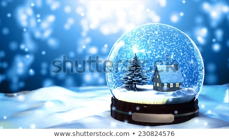 Stockfoto: Christmas Snow Globe With Beautiful Houses In It