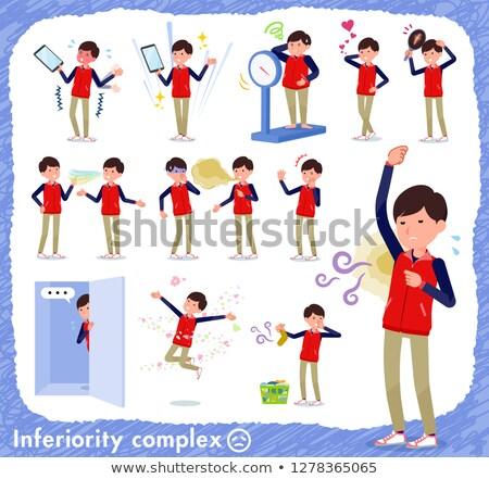 Store staff red uniform men_complex Stock photo © toyotoyo