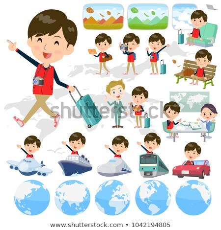 Store staff red uniform men_travel Stock photo © toyotoyo