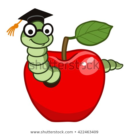 Book Worm Apple Cartoon Stock photo © Krisdog