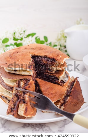Chocolade gevuld pannenkoeken voedsel dessert vers Stockfoto © Alex9500