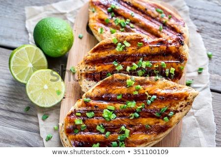 Pollo a la parrilla salsa fondo pollo carne comer Foto stock © M-studio