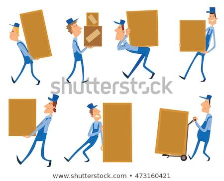 Teslim işçi üniforma ağır kutu vektör Stok fotoğraf © pikepicture