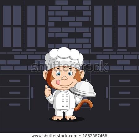 Rajz mosolyog szakács csimpánz szakács Stock fotó © cthoman