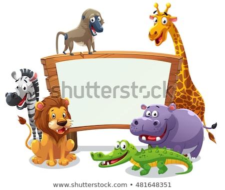 Karikatür zürafa imzalamak örnek Stok fotoğraf © cthoman