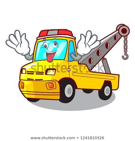 Mad cartoon ciężarówka ilustracja patrząc niebieski Zdjęcia stock © cthoman