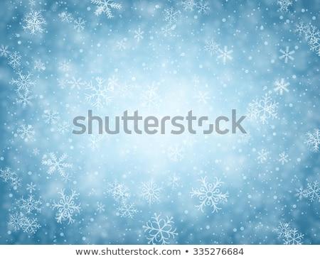 Kék hópehely hó égbolt keret fagyos Stock fotó © romvo