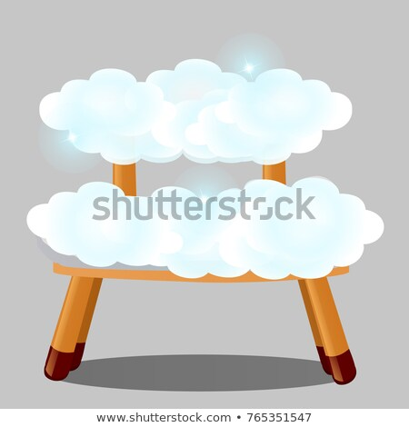 Wooden stool upholstered in clouds isolated on grey background. The highest degree of comfort. Vecto Stock photo © Lady-Luck