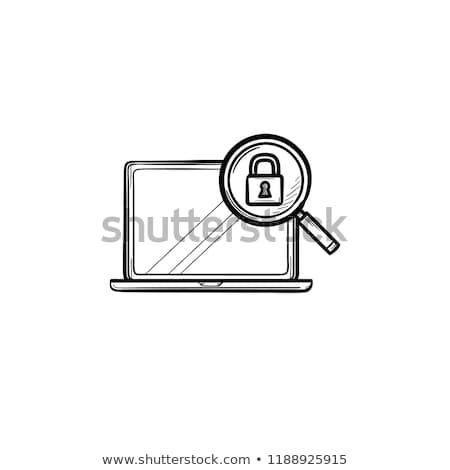 Laptop vergrootglas hangslot schets doodle Stockfoto © RAStudio