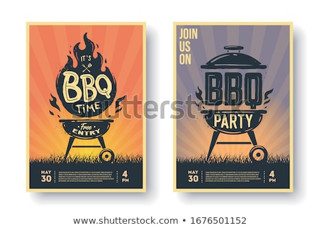 bbq grill party time poster vector illustration stock photo © robuart
