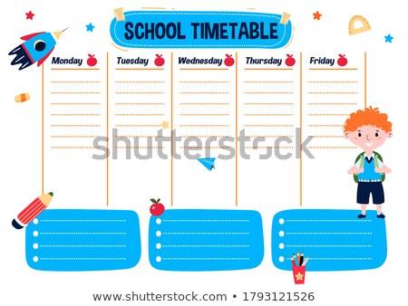 Heti időbeosztás fiúk lányok illusztráció gyermek Stock fotó © colematt