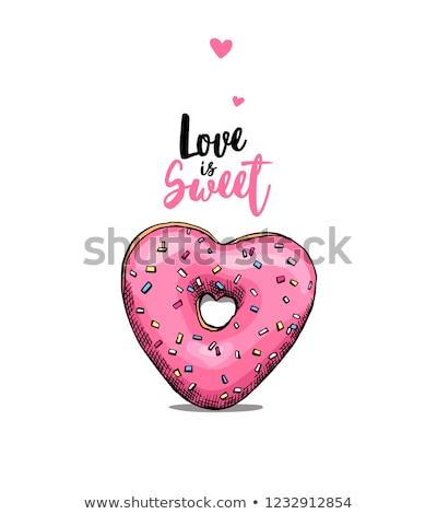 ストックフォト: 中心 · ドーナツ · 心 · ピンク · キャンディ