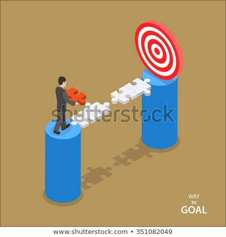 isometric flat vector concept of business advantage leadership stock photo © tarikvision