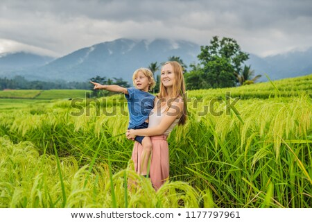 Mom and son travelers on Beautiful Jatiluwih Rice Terraces against the background of famous volcanoe Stock photo © galitskaya
