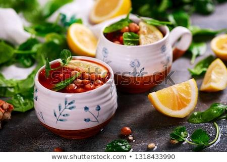 Moroccan tomato  veggy soup .style rustic Stock photo © zoryanchik