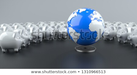white piggy banks blue globe stock photo © limbi007