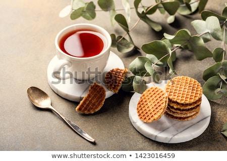 Beker thee cookies klein cafe ontbijt Stockfoto © Melnyk
