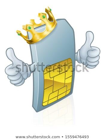 Sim Card King Mobile Phone Cartoon Mascot Stock photo © Krisdog