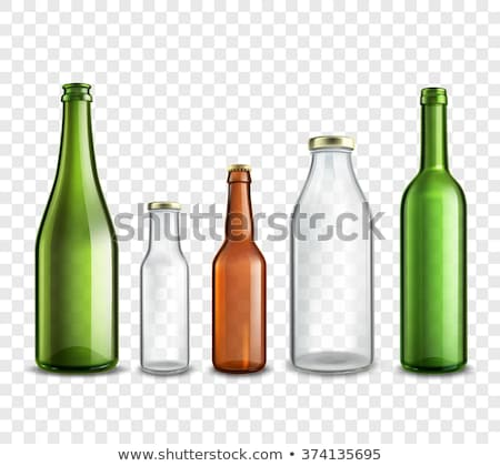 Realistic Green Bottle And Glass With Beer Vector Stock photo © pikepicture