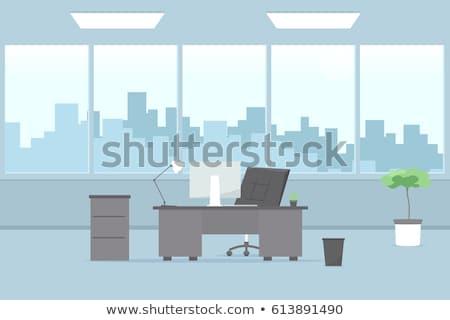ofis · iç · vektör · oda · mobilya · dizayn - stok fotoğraf © krisdog