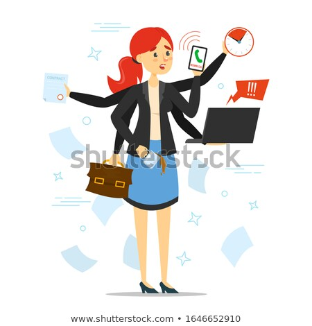 Stressed Businesswoman With Too Many Task To Do At Office Stock photo © AndreyPopov