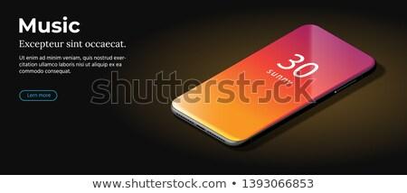 Modern Red Smart Phone Lies On A Smooth Dark Brown Surface Foto stock © Tashatuvango