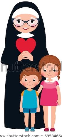 Senior nun and children girl and boy Stock photo © UrchenkoJulia