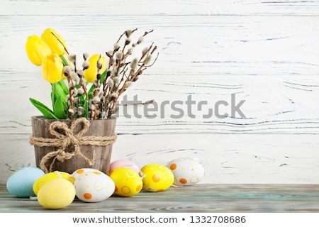 Happy Easter greeting card, bunny in basket, with flowers and eggs, poster, bunner, illustration stock photo © marish