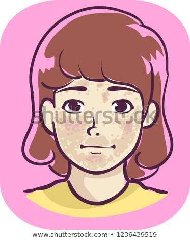 Kid девушки симптом коричневый иллюстрация лице Сток-фото © lenm