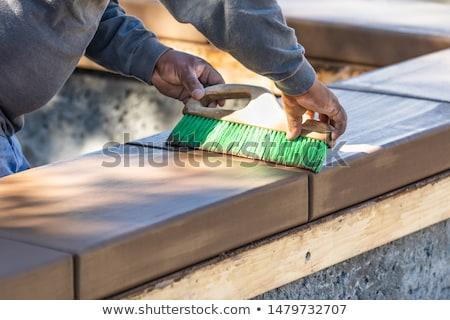 Travailleur de la construction brosse humide ciment autour nouvelle Photo stock © feverpitch