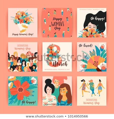 Girls with Bouquet, Flowers and Womens Day Vector Stock photo © robuart
