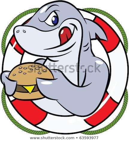 голодный акула есть Burger Поп-арт ретро Сток-фото © studiostoks