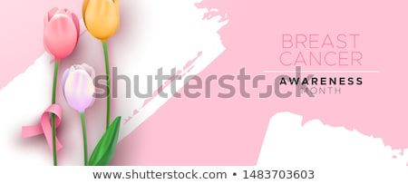 Stock photo: Breast cancer awareness banner pink tulip ribbon