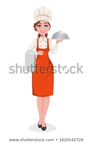 Pretty young smiling chef in white uniform holding cloche in front of herself Stock photo © pressmaster