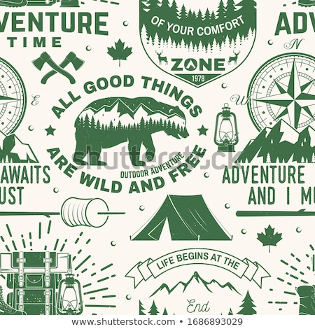 Camping montanas aventura placa viaje Foto stock © JeksonGraphics