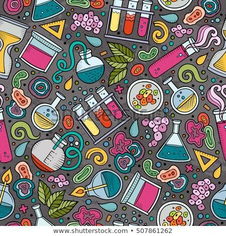 Cartoon cute hand drawn Science seamless pattern Stock photo © balabolka